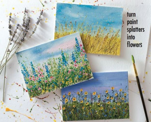 How To Paint Flowers - Let Your Paint Splatters Bloom Into Flower Gardens - Step by Step Tutorials for Painting Roses, Daisies, Whimsical and Abstract Floral Techniques - Easy Acrylic Flower Tutorial for Beginners - Paint on Wood, Canvas, On Wasll, Rocks, Fabric and Paper - Step by Step Instructions and How To #painting #diy