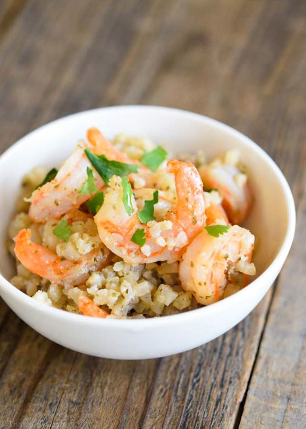 Shrimp Recipes - Low Carb Cauli-Rice & Shrimp - Healthy, Easy Recipe Ideas for Dinner Using Shrimp - Grilled, Creamy Baked Pasta, Fried, Spicy Asian Style, Mexican, Sauteed Garlic