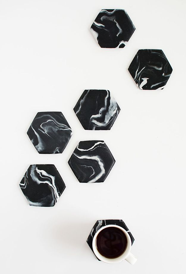 Crafts To Make and Sell - Marble Hexagon Coasters - 75 MORE Easy DIY Ideas for Cheap Things To Sell on Etsy, Online and for Craft Fairs. Make Money with crafts to sell ideas #crafts