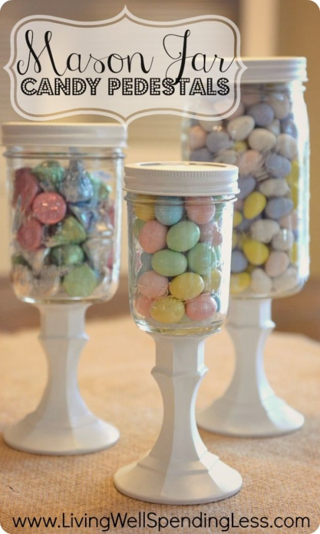 Crafts To Make and Sell - Mason Jar Candy Pedestals - 75 MORE Easy DIY Ideas for Cheap Things To Sell on Etsy, Online and for Craft Fairs. Make Money with crafts to sell ideas #crafts