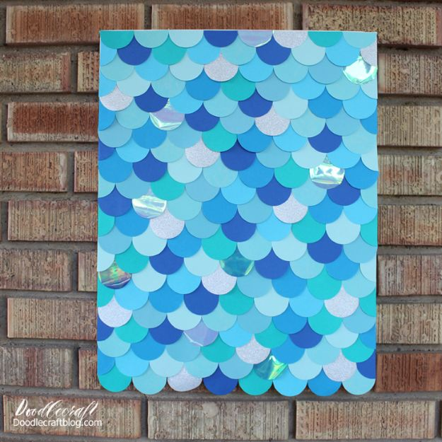 Crafts To Make and Sell - Mermaid Fish Scales Wall Art Backdrop - 75 MORE Easy DIY Ideas for Cheap Things To Sell on Etsy, Online and for Craft Fairs. Make Money with crafts to sell ideas #crafts