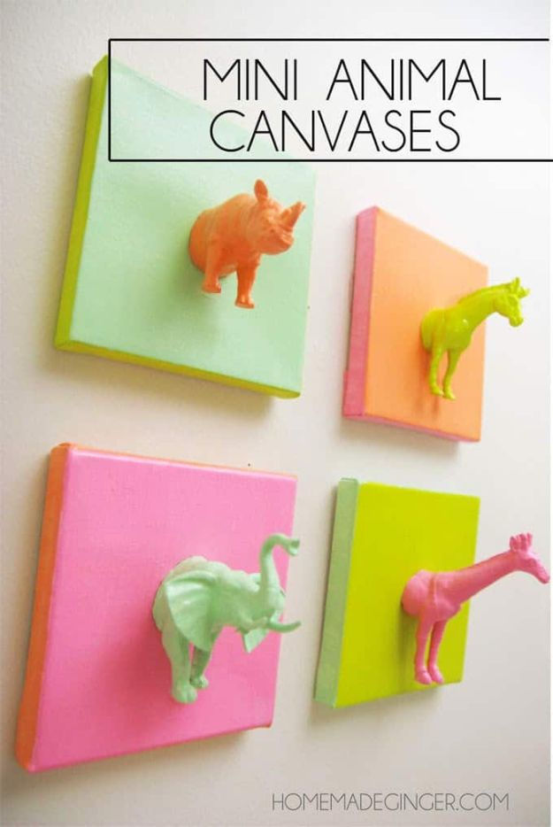 Crafts To Make and Sell - Mini Animal Canvases - 75 MORE Easy DIY Ideas for Cheap Things To Sell on Etsy, Online and for Craft Fairs. Make Money with crafts to sell ideas #crafts