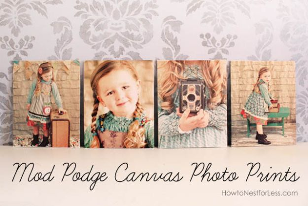 How to Mod Podge Canvas Photo Prints - Creative Ways to Display Photos From Instagram - Cool Wall Art Ideas DIY