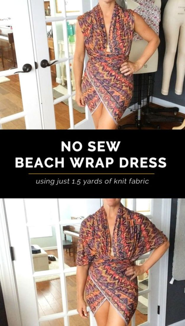 No Sew DIY Fashion Ideas - No-Sew Beach Wrap Dress - Easy No Sew Projects to Make for Clothes, Shirts, Jeans, Pants, Skirts, Kids Clothing No Sewing Project Ideas