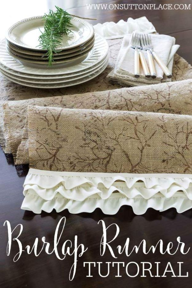 No Sew DIY Home Decor Ideas - No-Sew Burlap Ruffled Runner - Easy No Sew Projects to Make for Bedroom,. Kitchen, Bath - Crafts to Make and Sell, Blankets, No Sewing Project Ideas #nosew #diydecor #diygifts #homedecor