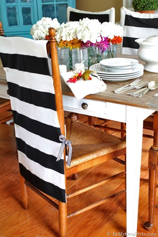 No Sew DIY Home Decor Ideas - No-Sew Chair Back Covers - Easy No Sew Projects to Make for Bedroom,. Kitchen, Bath - Crafts to Make and Sell, Blankets, No Sewing Project Ideas #nosew #diydecor #diygifts #homedecor