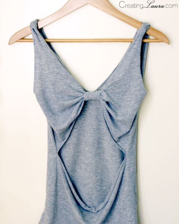No Sew DIY Fashion Ideas - No-Sew DIY Bow-Back Tank Top - Easy No Sew Projects to Make for Clothes, Shirts, Jeans, Pants, Skirts, Kids Clothing No Sewing Project Ideas