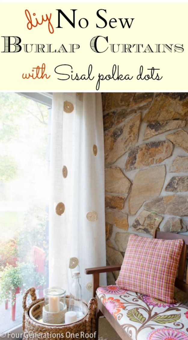 No Sew DIY Home Decor Ideas - No-Sew DIY White Burlap Curtains - Easy No Sew Projects to Make for Bedroom,. Kitchen, Bath - Crafts to Make and Sell, Blankets, No Sewing Project Ideas #nosew #diydecor #diygifts #homedecor