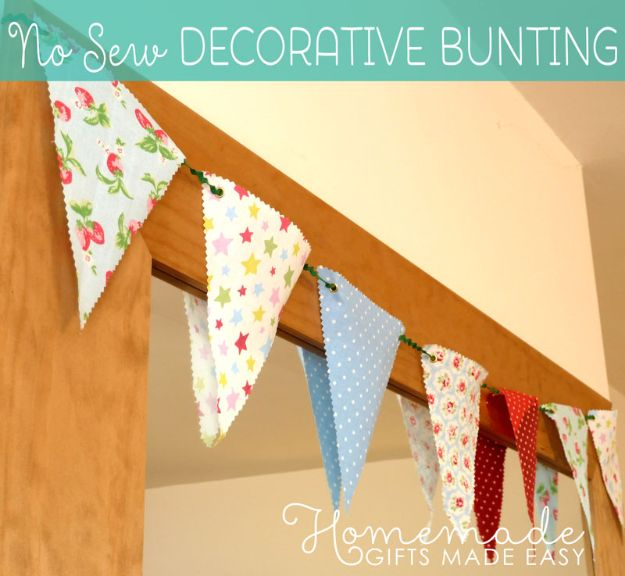 No Sew DIY Home Decor Ideas - No-Sew Decorative Bunting - Easy No Sew Projects to Make for Bedroom,. Kitchen, Bath - Crafts to Make and Sell, Blankets, No Sewing Project Ideas #nosew #diydecor #diygifts #homedecor