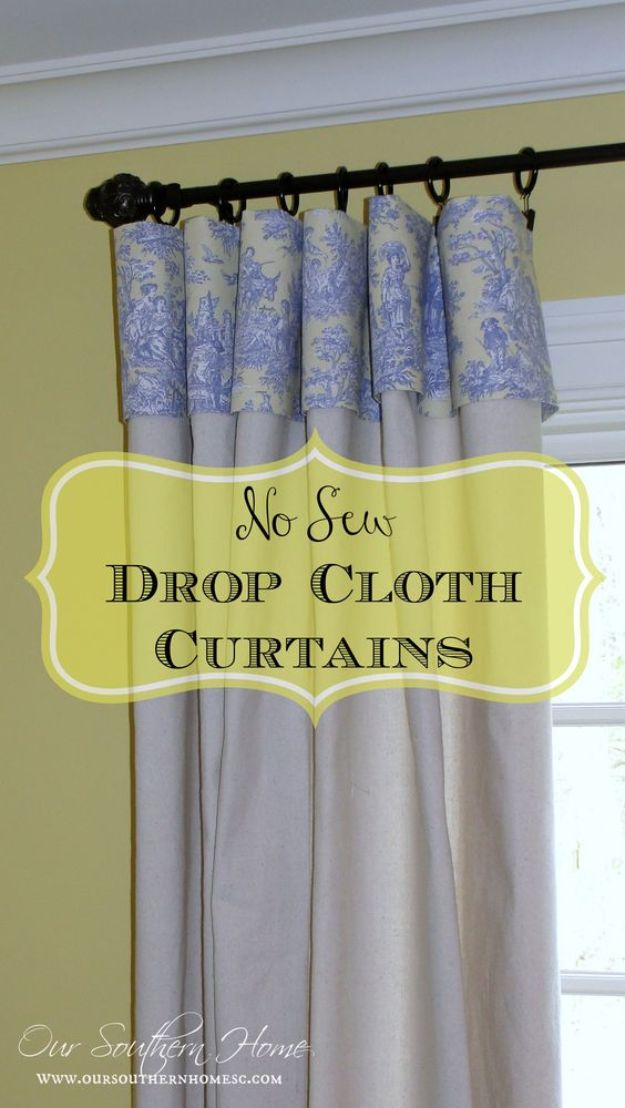 No Sew DIY Home Decor Ideas - No Sew Drop Cloth Curtains - Easy No Sew Projects to Make for Bedroom,. Kitchen, Bath - Crafts to Make and Sell, Blankets, No Sewing Project Ideas #nosew #diydecor #diygifts #homedecor