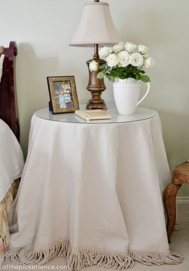No Sew DIY Home Decor Ideas - No-Sew Drop Cloth Table Skirt - Easy No Sew Projects to Make for Bedroom,. Kitchen, Bath - Crafts to Make and Sell, Blankets, No Sewing Project Ideas #nosew #diydecor #diygifts #homedecor