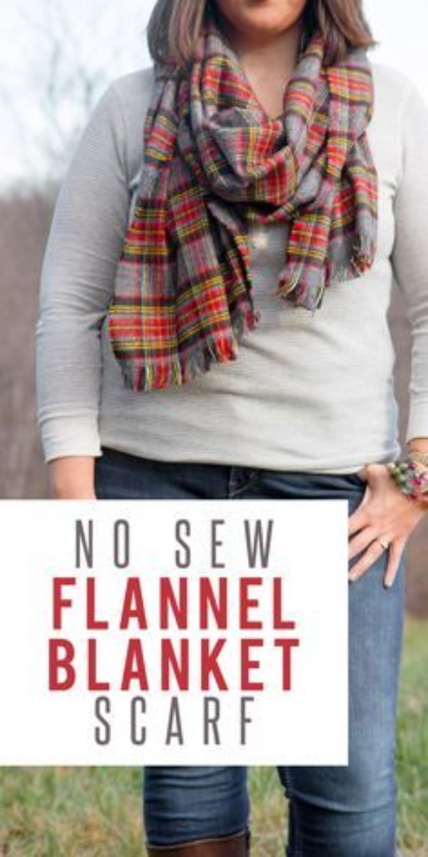 No Sew DIY Fashion Ideas - No-Sew Flannel Blanket Scarf - Easy No Sew Projects to Make for Clothes, Shirts, Jeans, Pants, Skirts, Kids Clothing No Sewing Project Ideas