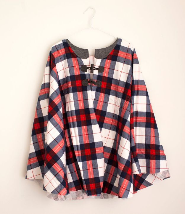 No Sew DIY Fashion Ideas - No-Sew Flannel Cape - Easy No Sew Projects to Make for Clothes, Shirts, Jeans, Pants, Skirts, Kids Clothing No Sewing Project Ideas
