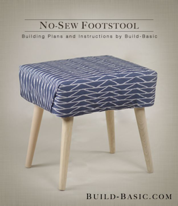 No Sew DIY Home Decor Ideas - No-Sew Footstool - Easy No Sew Projects to Make for Bedroom,. Kitchen, Bath - Crafts to Make and Sell, Blankets, No Sewing Project Ideas #nosew #diydecor #diygifts #homedecor