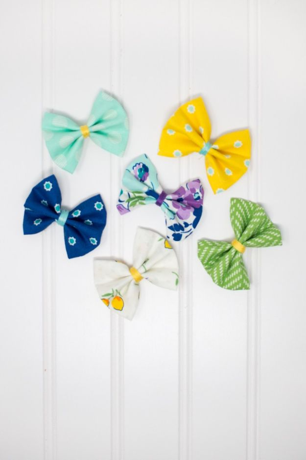 No Sew DIY Fashion Ideas - No-Sew Girls Fabric Hair Bows - Easy No Sew Projects to Make for Clothes, Shirts, Jeans, Pants, Skirts, Kids Clothing No Sewing Project Ideas