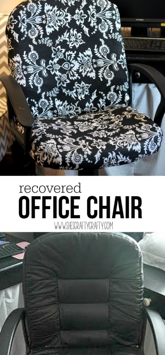 No Sew DIY Home Decor Ideas - No-Sew Office Chair Makeover - Easy No Sew Projects to Make for Bedroom,. Kitchen, Bath - Crafts to Make and Sell, Blankets, No Sewing Project Ideas #nosew #diydecor #diygifts #homedecor
