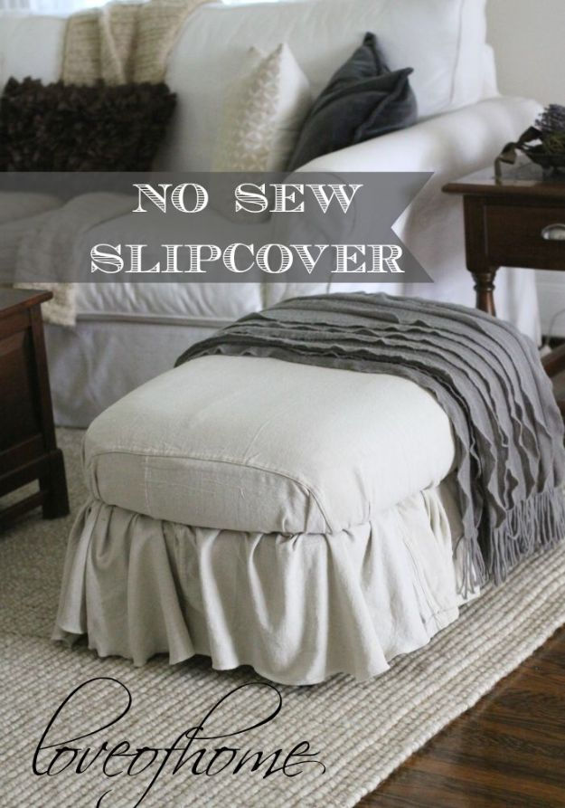 No Sew DIY Home Decor Ideas - No-Sew Ottoman Slipcover - Easy No Sew Projects to Make for Bedroom,. Kitchen, Bath - Crafts to Make and Sell, Blankets, No Sewing Project Ideas #nosew #diydecor #diygifts #homedecor