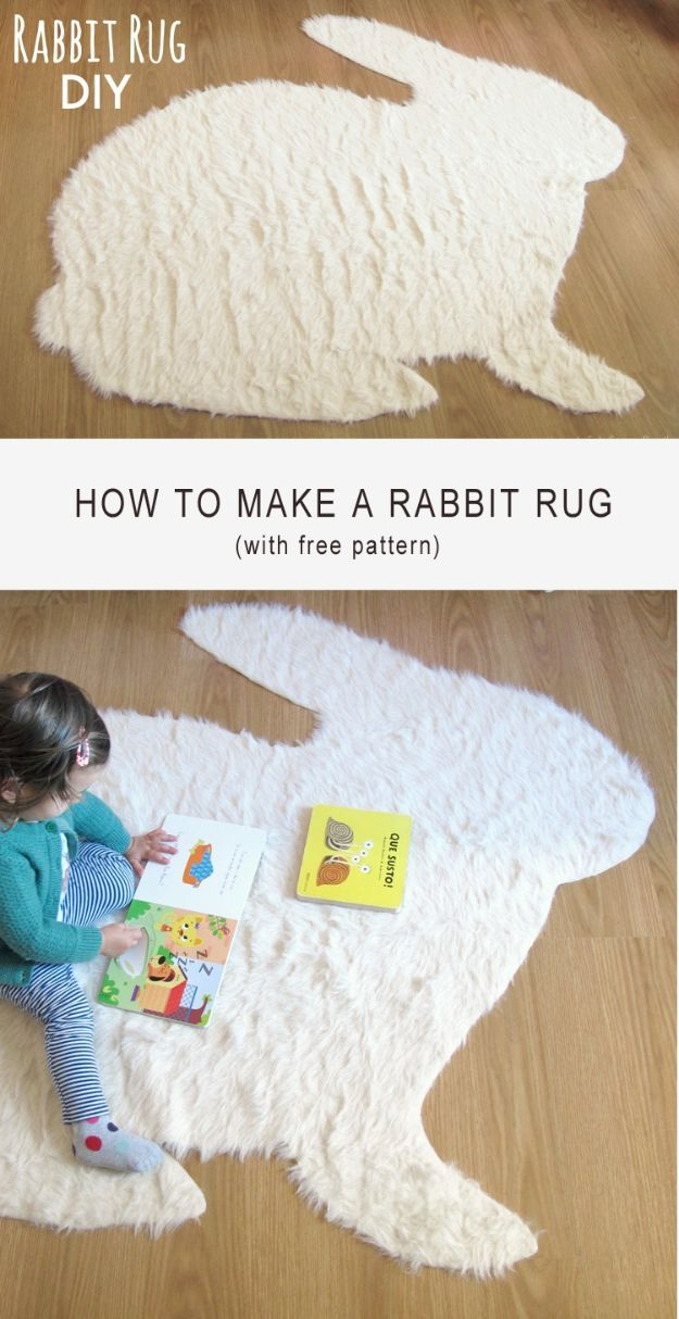 No Sew DIY Home Decor Ideas - No-Sew Rabbit Rug - Easy No Sew Projects to Make for Bedroom,. Kitchen, Bath - Crafts to Make and Sell, Blankets, No Sewing Project Ideas #nosew #diydecor #diygifts #homedecor