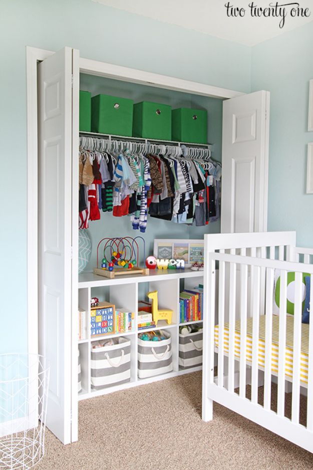 Closet Organization Ideas - Nursery Closet - DIY Closet Organizing Tutorials - Hacks, Tips and Tricks for Closets With Storage, Shoe Racks, Small Space Idea - Projects for Bedroom, Kids, Master, Walk in