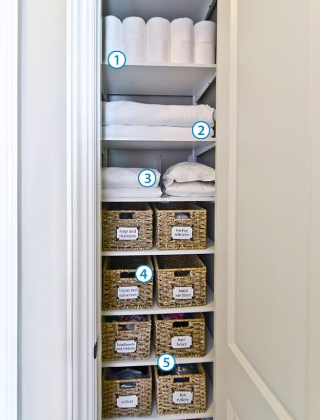 Closet Organization Ideas - Organize Your Linen Closet - DIY Closet Organizing Tutorials - Hacks, Tips and Tricks for Closets With Storage, Shoe Racks, Small Space Idea - Projects for Bedroom, Kids, Master, Walk in