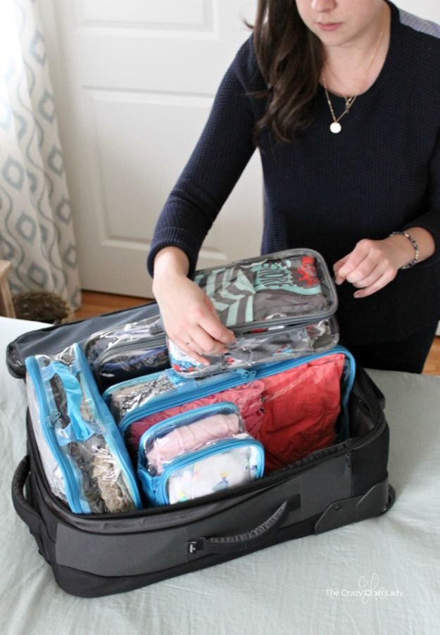 Packing Hacks for Travel - Organized Travel Packing With Kids - How to Pack and Fold Clothes, Save Space in Suitcase - Tips and Tricks for Shoes, Makeup, Toiletries, Carry On Luggage for Trips