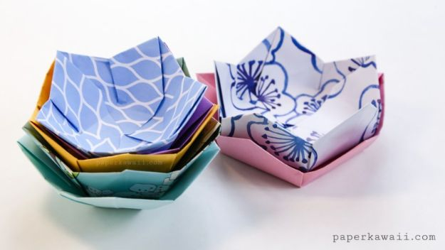 Crafts To Make and Sell - Origami Flower Bowl - 75 MORE Easy DIY Ideas for Cheap Things To Sell on Etsy, Online and for Craft Fairs. Make Money with crafts to sell ideas #crafts