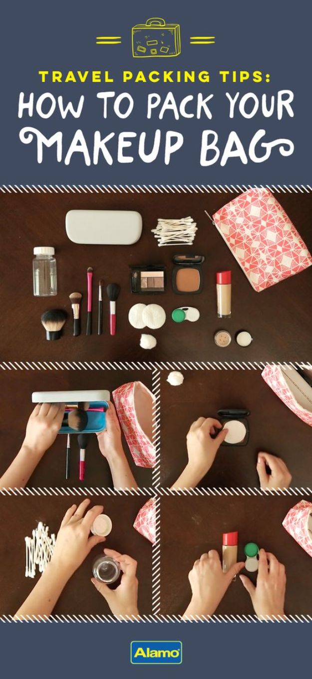 Packing Hacks for Travel - Pack Your Make-Up Bag - How to Pack and Fold Clothes, Save Space in Suitcase - Tips and Tricks for Shoes, Makeup, Toiletries, Carry On Luggage for Trips