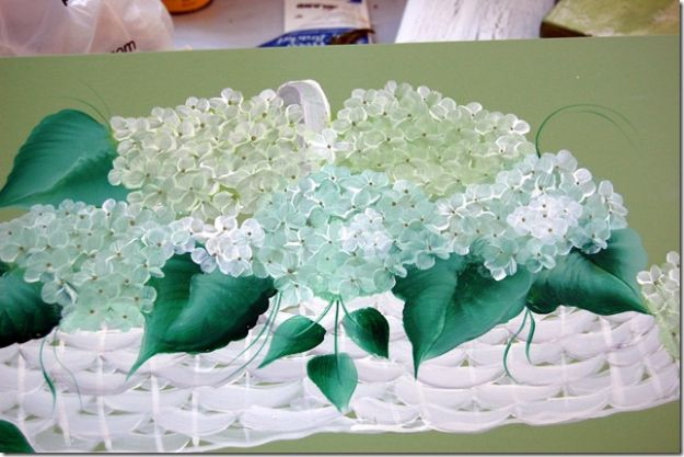 How To Paint Flowers - Painting Hydrangeas In A Basket - Step by Step Tutorials for Painting Roses, Daisies, Whimsical and Abstract Floral Techniques - Easy Acrylic Flower Tutorial for Beginners - Paint on Wood, Canvas, On Wasll, Rocks, Fabric and Paper - Step by Step Instructions and How To #painting #diy