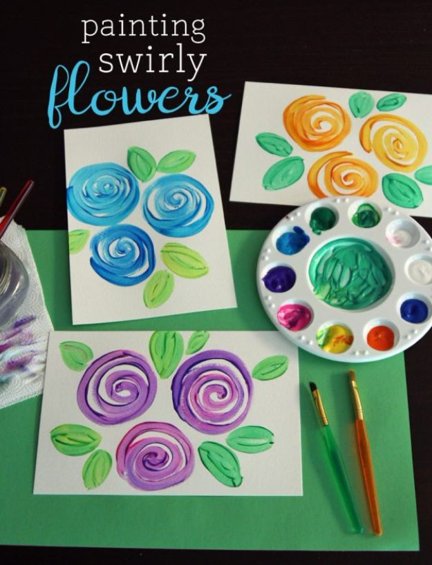 How To Paint Flowers - Painting Swirly Flowers - Step by Step Tutorials for Painting Roses, Daisies, Whimsical and Abstract Floral Techniques - Easy Acrylic Flower Tutorial for Beginners - Paint on Wood, Canvas, On Wasll, Rocks, Fabric and Paper - Step by Step Instructions and How To #painting #diy