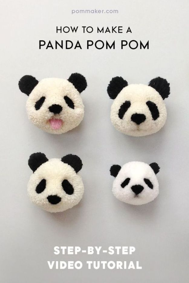 Crafts To Make and Sell - Panda Pom Pom - 75 MORE Easy DIY Ideas for Cheap Things To Sell on Etsy, Online and for Craft Fairs. Make Money with crafts to sell ideas #crafts