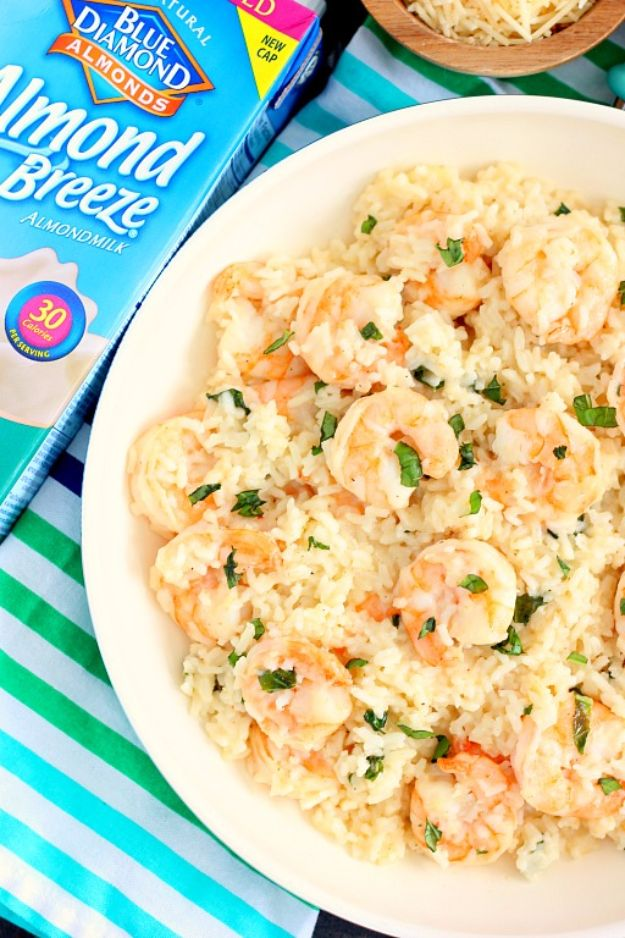 Shrimp Recipes - Parmesan Basil Shrimp & Rice - Healthy, Easy Recipe Ideas for Dinner Using Shrimp - Grilled, Creamy Baked Pasta, Fried, Spicy Asian Style, Mexican, Sauteed Garlic