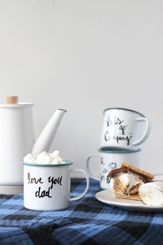 Crafts To Make and Sell - Personalized Enamel Mug - 75 MORE Easy DIY Ideas for Cheap Things To Sell on Etsy, Online and for Craft Fairs. Make Money with These Homemade Crafts for Teens, Kids, Christmas, Summer, Mother's Day Gifts. http://diyjoy.com/crafts-to-make-and-sell-ideas