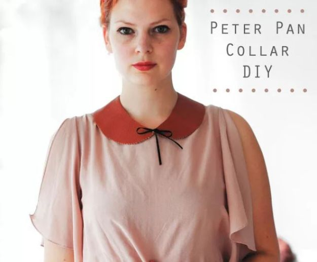 No Sew DIY Fashion Ideas - Peter Pan Collar DIY - Easy No Sew Projects to Make for Clothes, Shirts, Jeans, Pants, Skirts, Kids Clothing No Sewing Project Ideas