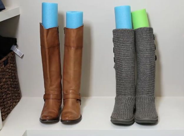 Closet Organization Ideas - Pool Noodle Hack To Organize Boots - DIY Closet Organizing Tutorials - Hacks, Tips and Tricks for Closets With Storage, Shoe Racks, Small Space Idea - Projects for Bedroom, Kids, Master, Walk in