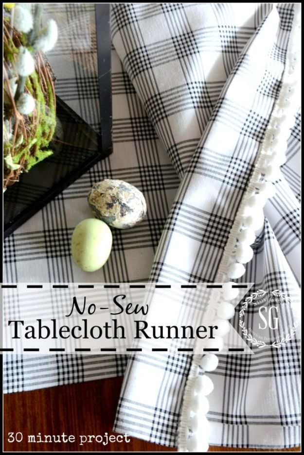 No Sew DIY Home Decor Ideas - Pretty No-Sew Table Runner - Easy No Sew Projects to Make for Bedroom,. Kitchen, Bath - Crafts to Make and Sell, Blankets, No Sewing Project Ideas #nosew #diydecor #diygifts #homedecor