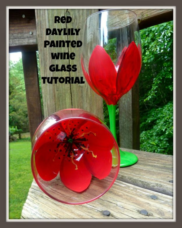 How To Paint Flowers - Red Daylily Flower Painted Wine Glass Tutorial - Step by Step Tutorials for Painting Roses, Daisies, Whimsical and Abstract Floral Techniques - Easy Acrylic Flower Tutorial for Beginners - Paint on Wood, Canvas, On Wasll, Rocks, Fabric and Paper - Step by Step Instructions and How To #painting #diy