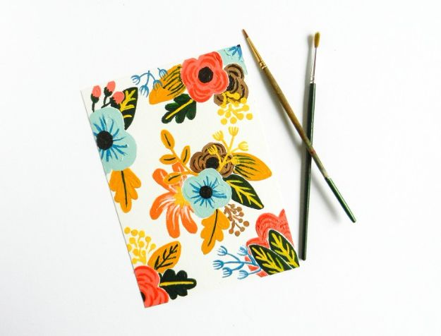 How To Paint Flowers - Retro Painted Flowers Tutorial - Step by Step Tutorials for Painting Roses, Daisies, Whimsical and Abstract Floral Techniques - Easy Acrylic Flower Tutorial for Beginners - Paint on Wood, Canvas, On Wasll, Rocks, Fabric and Paper - Step by Step Instructions and How To #painting #diy