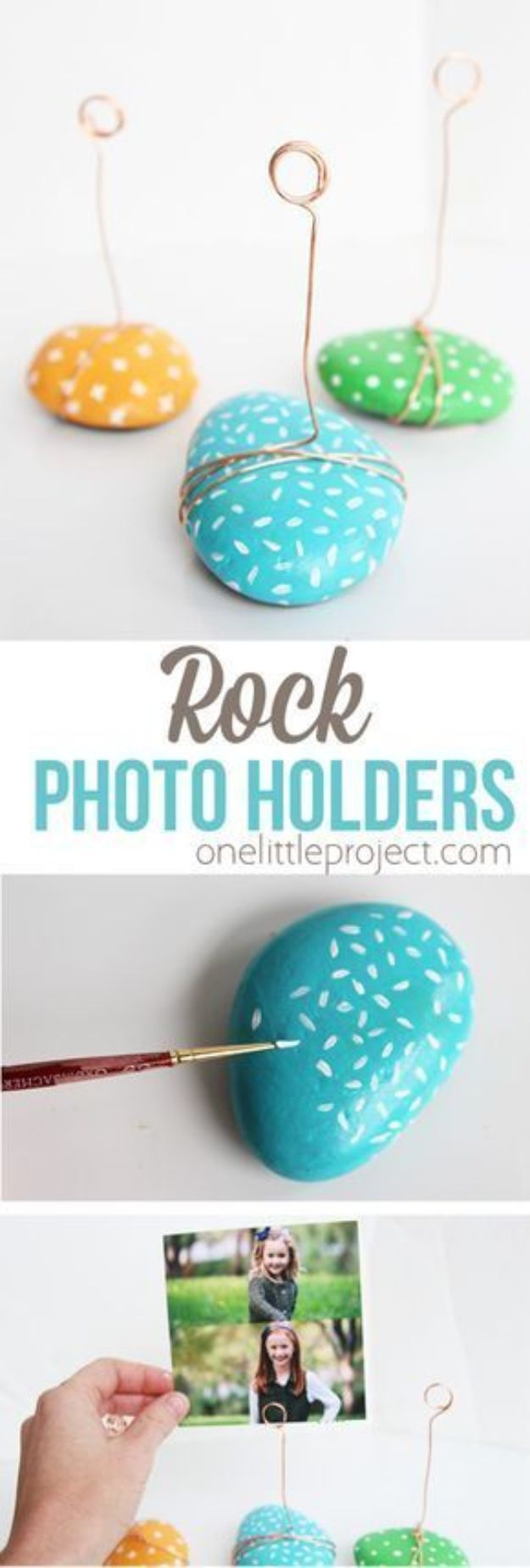 Most Profitable Crafts to Sell - DIY Crafts To Make and Sell - DIY Painted Rock Photo Holders - DIY Gifts for Mom and Dad - Cheap DIY Ideas to Sell for Money - Teen Crafts You Can Sell