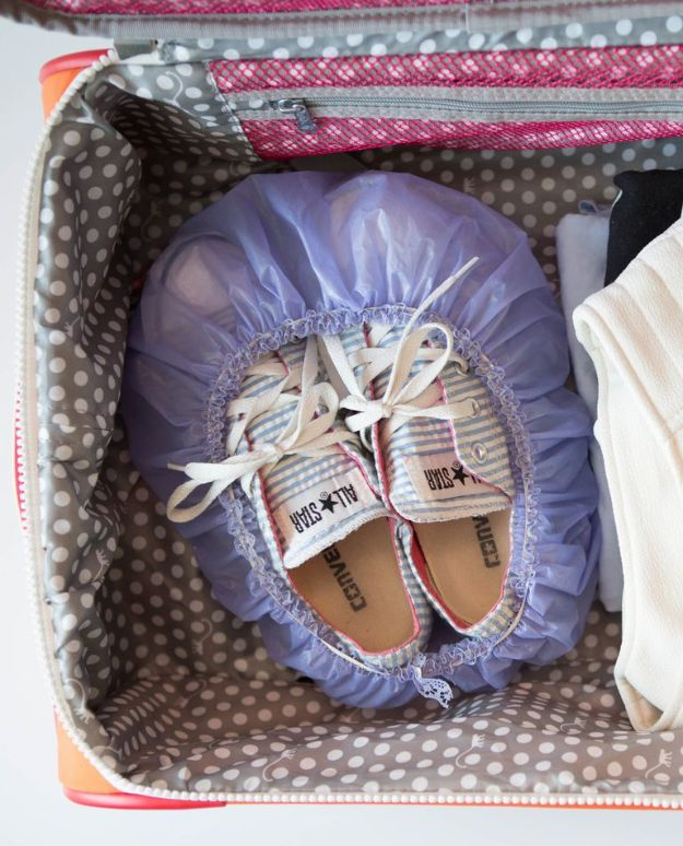Packing Hacks for Travel - Shower Cap Storage For Shoes - How to Pack and Fold Clothes, Save Space in Suitcase - Tips and Tricks for Shoes, Makeup, Toiletries, Carry On Luggage for Trips