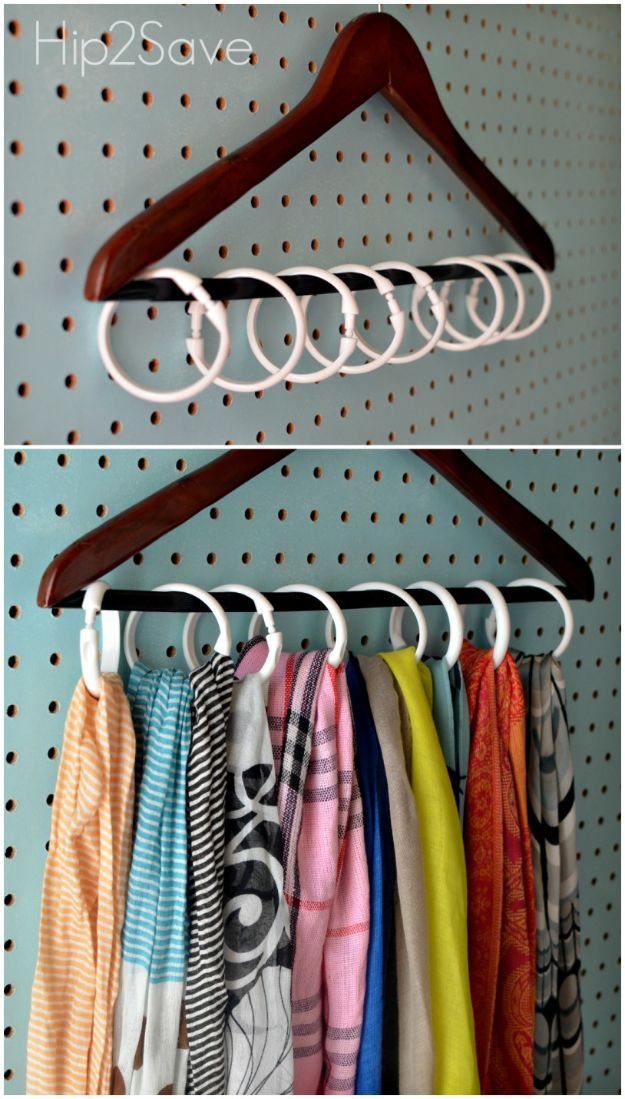 Closet Organization Ideas - Shower Curtain Ring Hanger - DIY Closet Organizing Tutorials - Hacks, Tips and Tricks for Closets With Storage, Shoe Racks, Small Space Idea - Projects for Bedroom, Kids, Master, Walk in