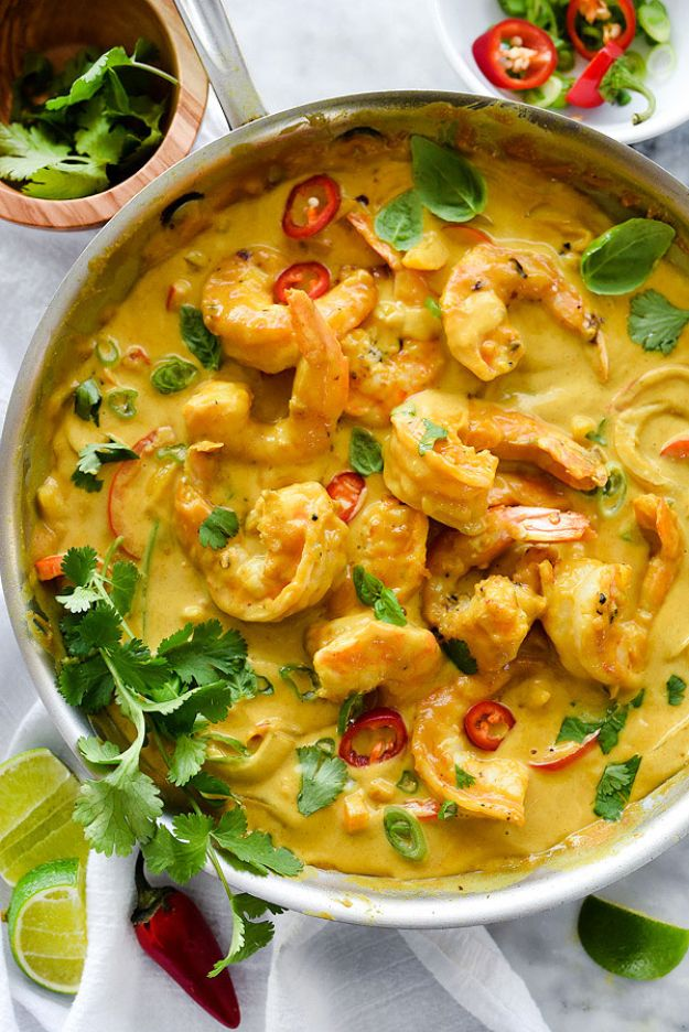 Shrimp Recipes - Shrimp In Thai Coconut Sauce - Healthy, Easy Recipe Ideas for Dinner Using Shrimp - Grilled, Creamy Baked Pasta, Fried, Spicy Asian Style, Mexican, Sauteed Garlic