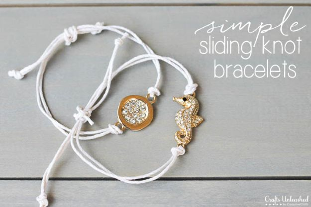 Crafts To Make and Sell - Simple Sliding Knot Bracelets - 75 MORE Easy DIY Ideas for Cheap Things To Sell on Etsy, Online and for Craft Fairs. Make Money with These Homemade Crafts for Teens, Kids, Christmas, Summer, Mother's Day Gifts. http://diyjoy.com/crafts-to-make-and-sell-ideas