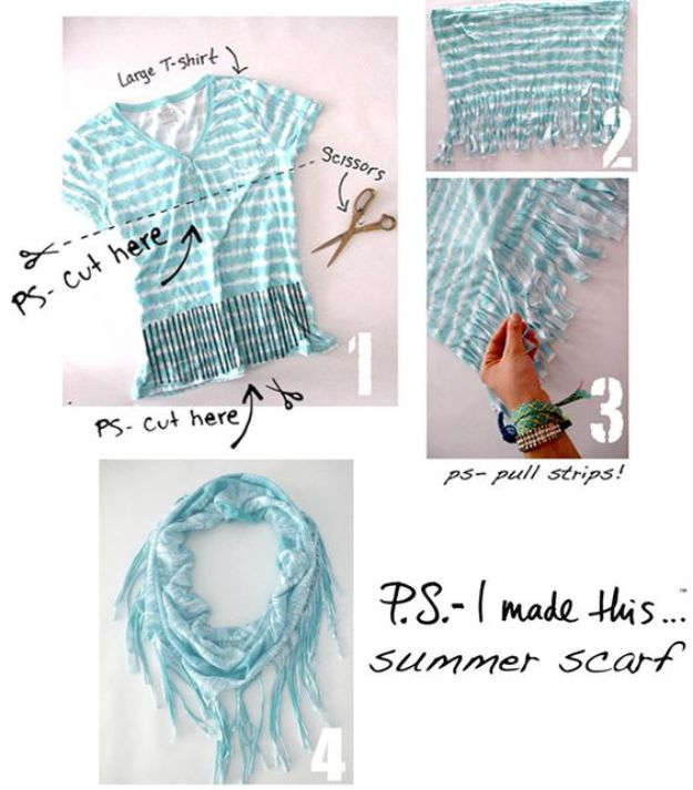 No Sew DIY Fashion Ideas - Summer Scarf - Easy No Sew Projects to Make for Clothes, Shirts, Jeans, Pants, Skirts, Kids Clothing No Sewing Project Ideas