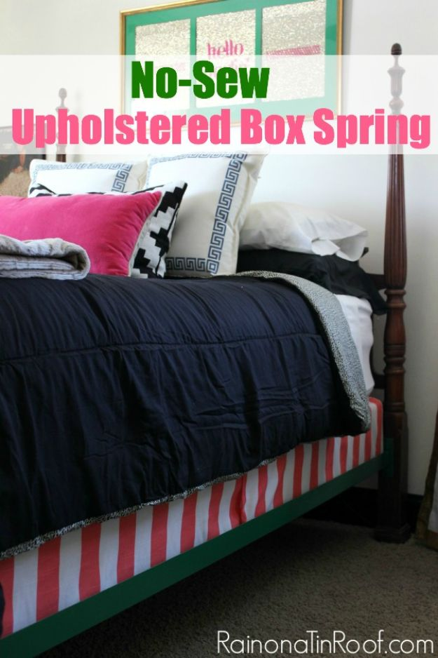 No Sew DIY Home Decor Ideas - Super Easy No-Sew Upholstered Box Spring - Easy No Sew Projects to Make for Bedroom,. Kitchen, Bath - Crafts to Make and Sell, Blankets, No Sewing Project Ideas #nosew #diydecor #diygifts #homedecor