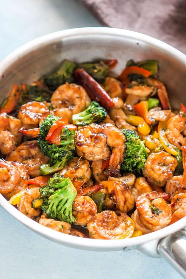 Easy Stir Fry Shrimp Recipes - Teriyaki Shrimp Broccoli Stir Fry - Healthy, Easy Recipe Ideas for Dinner Using Shrimp - Grilled, Creamy Baked Pasta, Fried, Spicy Asian Style, Mexican, Sauteed Garlic