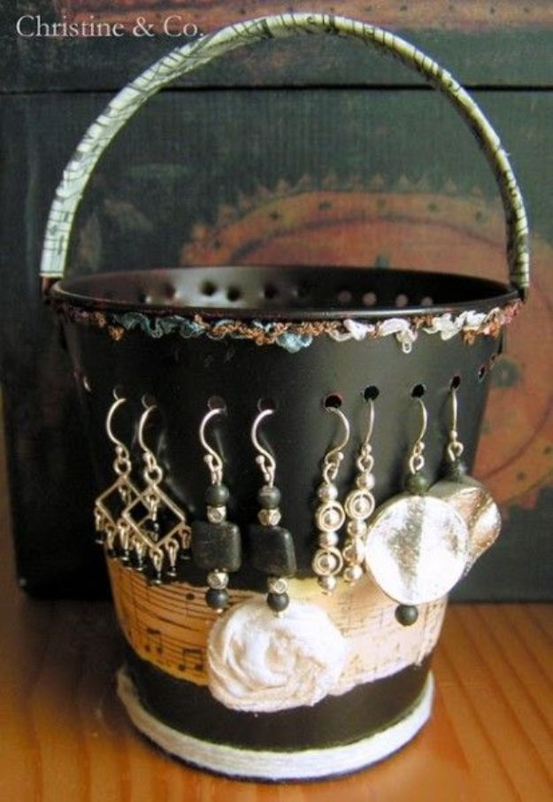 Crafts To Make and Sell - Tin Pail Jewelry Organizer - 75 MORE Easy DIY Ideas for Cheap Things To Sell on Etsy, Online and for Craft Fairs. Make Money with crafts to sell ideas #crafts