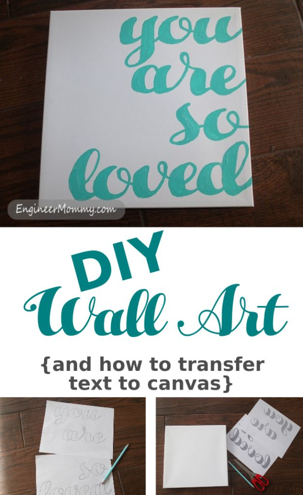 How to Transfer Text To Canvas - Creative Art to Make at Home - Easy Wall Art DIYS for Beginners - Cool Room Decor Ideas That Are Inexpensive to Make