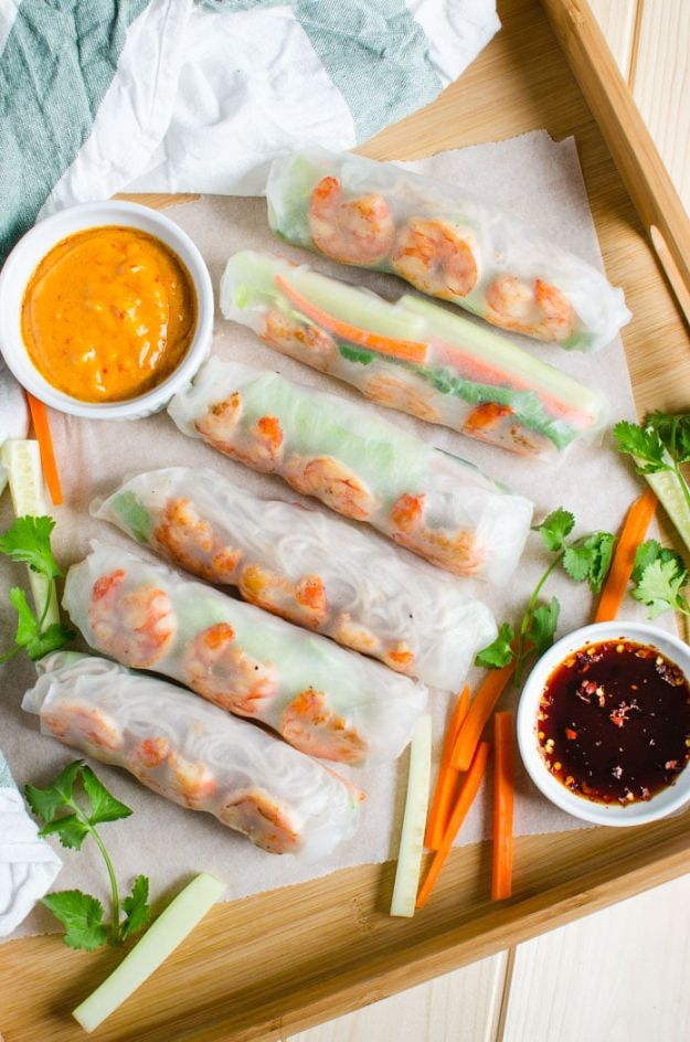 Shrimp Recipes - Vietnamese Healthy Spring Rolls - Healthy, Easy Recipe Ideas for Dinner Using Shrimp - Grilled, Creamy Baked Pasta, Fried, Spicy Asian Style, Mexican, Sauteed Garlic