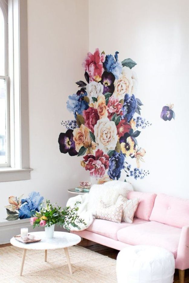 How To Paint Flowers - Vintage Floral Wall - Step by Step Tutorials for Painting Roses, Daisies, Whimsical and Abstract Floral Techniques - Easy Acrylic Flower Tutorial for Beginners - Paint on Wood, Canvas, On Wasll, Rocks, Fabric and Paper - Step by Step Instructions and How To #painting #diy