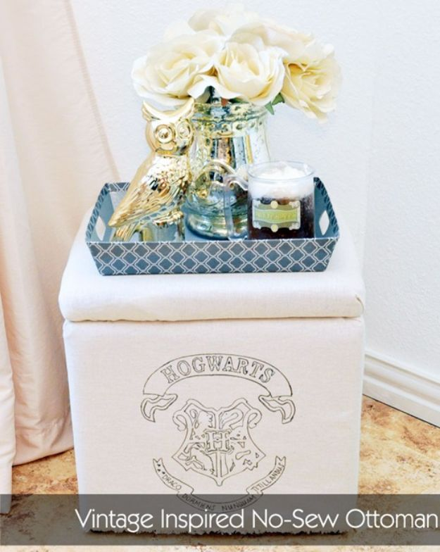 No Sew DIY Home Decor Ideas - Vintage Inspired No-Sew Ottoman - Easy No Sew Projects to Make for Bedroom,. Kitchen, Bath - Crafts to Make and Sell, Blankets, No Sewing Project Ideas #nosew #diydecor #diygifts #homedecor